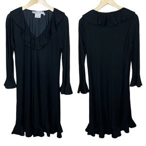 Gretchen Scott Black Long Sleeve Ruffle Dress Sz S
